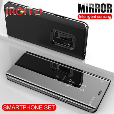 View Mirror Smart Case For Samsung Galaxy S9 S8 Plus Leather Flip Stand Cover Fo