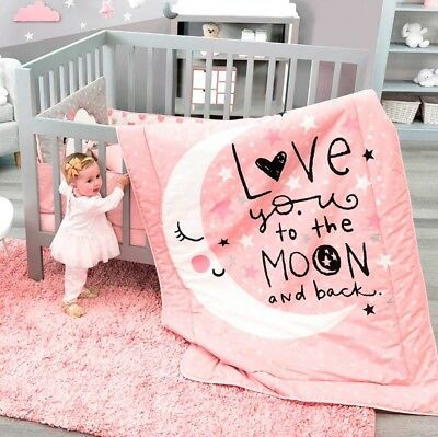 Limited Edition Moon And Stars Baby Girls Crib Bedding Set 100% Cotton