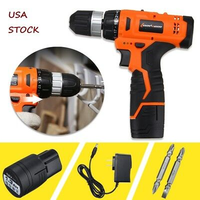 12V Cordless Drill Electric Screwdriver 2 Speed Power Tool +1.3Ah Li-ion Battery