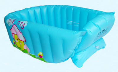 Portable Baby Kid Toddler Infant Bath Tub Inflatable Bathtub Travel Swimmer Blue