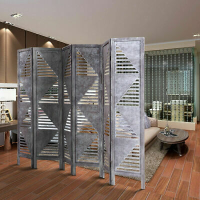 6 Panel Room Divider Wood Folding Freestanding Partition Privacy Screen Gray