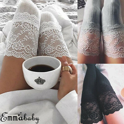 US Women Over The Knee Socks Lace Plain Leggings Long Thigh High Soft Stockings