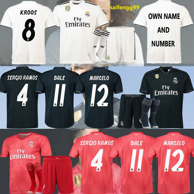18/19 New Home Away Third Football Jersey Kit Kids Soccer Club Team Outfits BALE