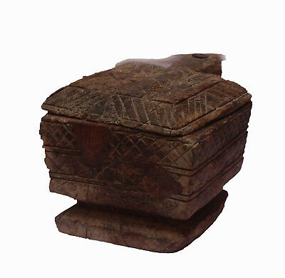 Indian Old Vintage Hand Made Unique Wooden Spice Masala Powder Box WD 230