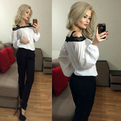 Women Sexy Off Shoulder Tops Long Sleeve Shirts Casual  Lace Chiffon Blouse 6A
