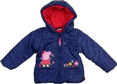 ~ New Peppa Pig Girls Navy Padded Fleece Lined Warm Winter Coat 12 Mths - 5 Yr ~