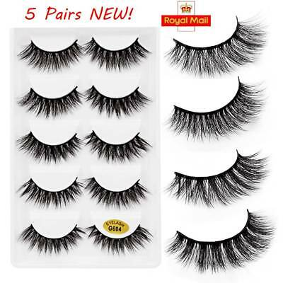 5 Pairs 3D Mink Long Natural Thick Wispy Lashes Handmade False Eyelashes Fake