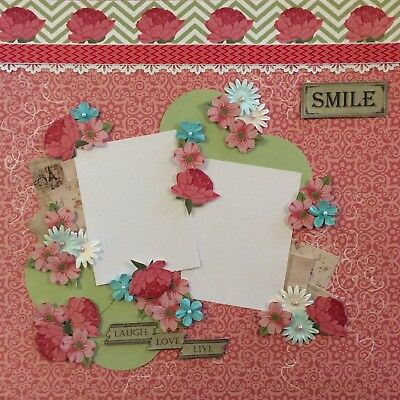 handmade scrapbook page 12 X 12 Laugh Love Live Smile Themed Layout