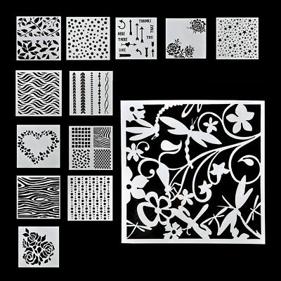 13PCS Embossing Template Scrapbooking Walls Painting Layering Stencils DIY Set