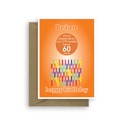Funny 60th Birthday Card For Him Her Edit Name 60 Bday Candles Dad Mom