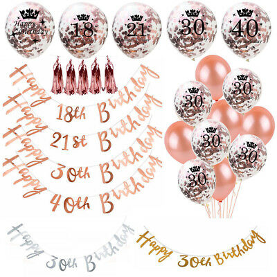 Rose Gold Happy Birthday Bunting Banner Balloons 18/21st/30/40/50/60th Party Dec