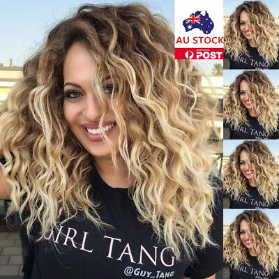 Women Ombre Blonde Black Curly Afro Synthetic Hair Wigs Natural Wavy Wig+Cap