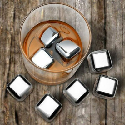 New Stainless Steel Ice Cubes Chilling Rock Reusable for Whiskey Wine Drink UK
