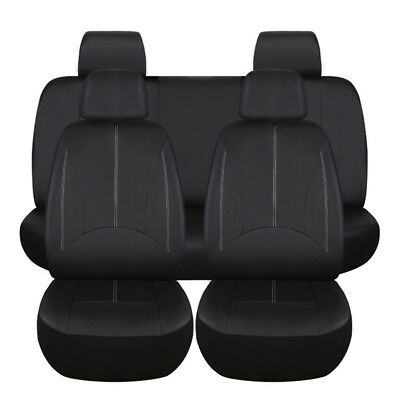 Set of PU Leather Car Seat Cover Full Set Front Rear Seat Cushion Mat Protector