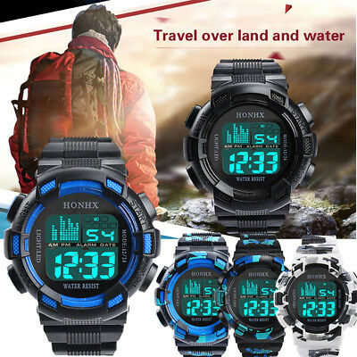 FM- Electric Multi-functional Camouflage LED Digital Date Display Wrist Watch So