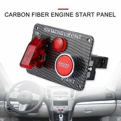 12V Racing Car Engine Start Push Button Ignition Switch Panel Red LED Toggle M2