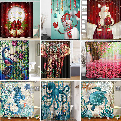 Various Pattern Waterproof Fabric Home Decor Bathroom Bath Shower Curtain +Hooks