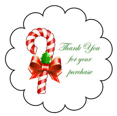 Glossy Scallop Border Christmas Candy Cane Thank You Stickers
