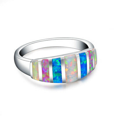 Colorful Fire Opal Silver Ring White Blue Red Fire Opal  Wedding Jewelry Ring