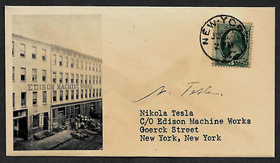 Nikola Tesla collector envelope w original period stamp 125 years old *OP1122