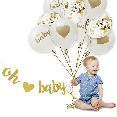 12'' Oh Baby Foil Confetti Latex Balloon Helium Birthday Party Baby shower Decor