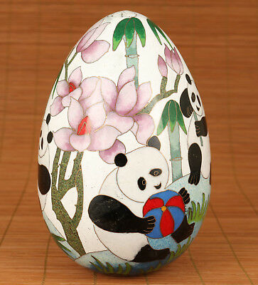 Rare Big Chinese Old Cloisonne Copper Hand Painting Panda Egg Statue