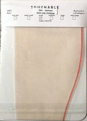 Vintage Styled Touchable Contrast Red Seam Nylon Stockings Small