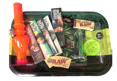 Bob Marley Smoking Set Goodie Rolling Papers Filters Water Pipe Grinder Raw Uk