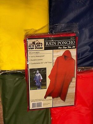 Old Mill PVC Rain Poncho, choose Red, Yellow, Green or Blue