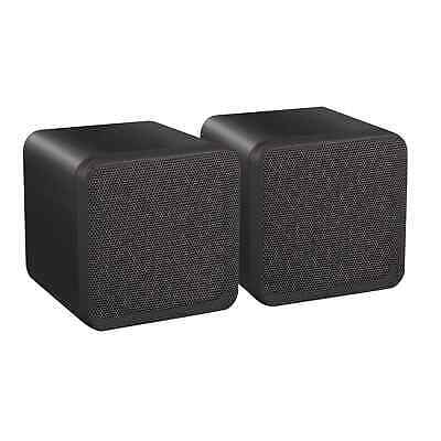 E-Audio Black Hi-Fi Speakers 80W Compact Home Cinema Cube Speakers for Bookshelf