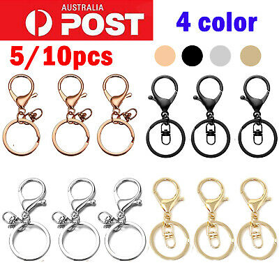 5/10 Key Ring Lobster Clasp Silver Rose Gold Keychain Swivel Silicone Keyring