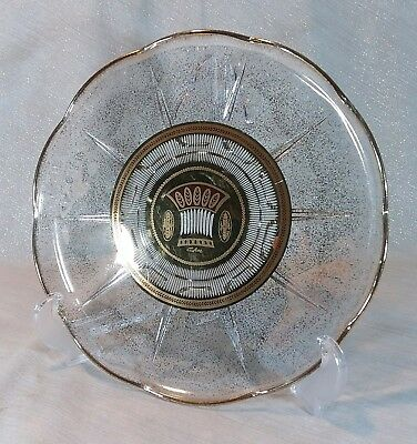 Vintage MCM Culver Glass Cake Plate Platter Serving Tray Gold Speckled Wheat