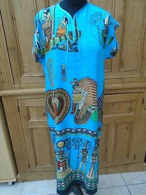 NEW dress/kaftan 8/10 TUTANKAMUN ancient Egyptian writing beautiful soft cotton