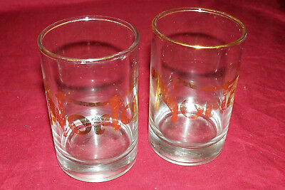 2 Vintage Norton Motorcycle Highball Bar Glasses Drink Cocktail Shot Advertising