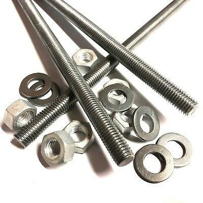 M4 M5 M6 M8 M10 ALUMINIUM Threaded Bar - Rod Studs With or Without Nuts/Washers