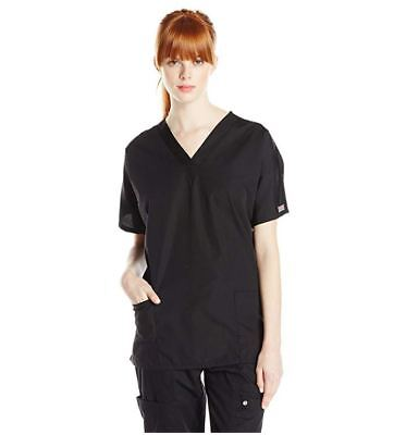 NEW Cherokee Workwear Scrub Top Women's V-neck 2 Pocket Size XXS BLACK #4700 2XS