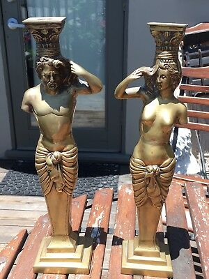 Large Partial Nude Lady & Nude Man Brass Candlesticks 15 Inches Tall