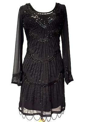 20's Flapper Gatsby Embellished Long Sleeve Chiffon Dress Black BNWT 8 - 24