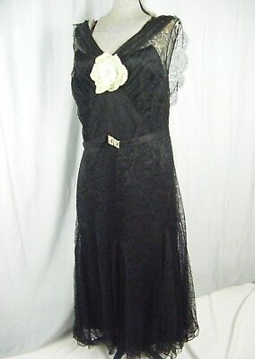 Antique 1920-30s Black Floral Lace Flapper Long Dress w/Lace Cape-Bust 38/S-M