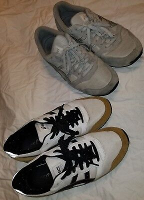 2 Pair Lot Of Asics Onitsuka Tiger Men's Shoes Size 9.5 White/tan & Gray Suede