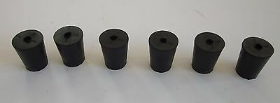 NEW #2 laboratory stoppers-tapered rubber stopper plug with one hole (lot of 6)