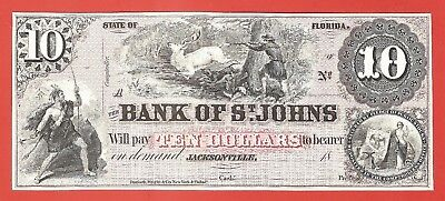 $10 Bank of St. Johns JACKSONVILLE 18__ Currency Banknote~Intaglio Print~ABN