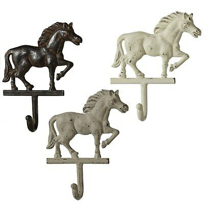 Brown Cream and White Horses Single Wall Hooks Set of 3 Cast Iron