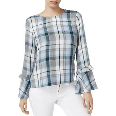 Maison Jules Womens Bell Sleeves Plaid Boat Neck Pullover Top Shirt BHFO 7132