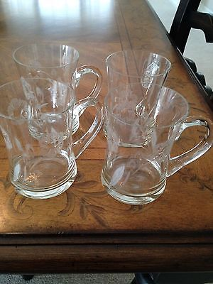 Etched Glass Coffee Mugs (4)
