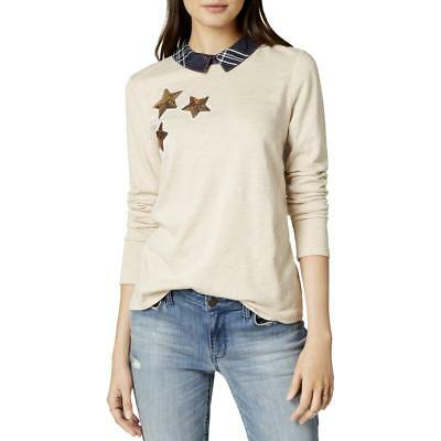 Maison Jules Womens Collared Star Sequined Heathered T-Shirt Top BHFO 7098