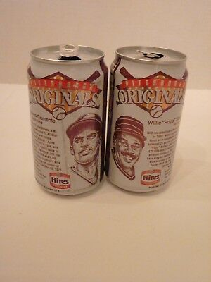 Hires Root Beer Cans Pittsburgh Pirates Roberto Clemente and Stargell Soda Empty