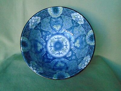 """Asian Chinese Blue White Green Footed Floral Pattern Porcelain Bowl Dish 6"""" x 3"""""""