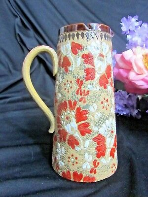 ANTIQUE Royal DOULTON LAMBETH England Stoneware PITCHER with LID c1880 RARE