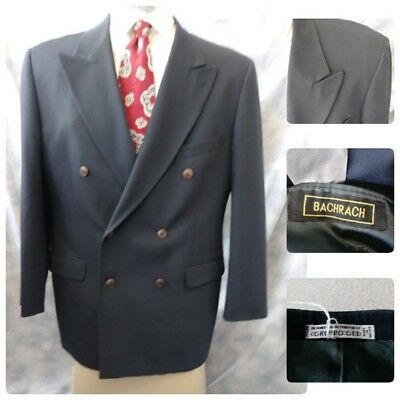 Bachrach Suit 42L Jacket Sport Coat Navy Double Breast Long Gruppo